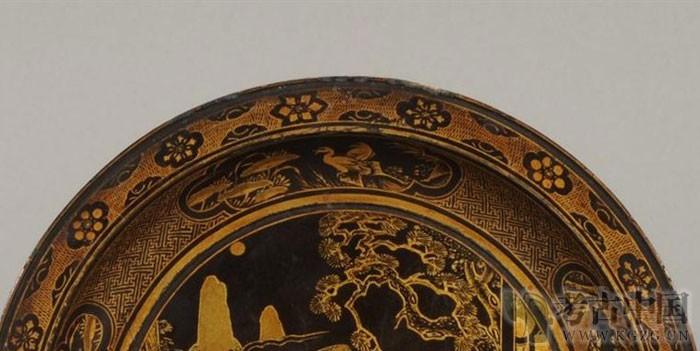 """清代 · 黑漆描金""""福禄寿""""神仙人物纹圆盘(安徽博物院)"""